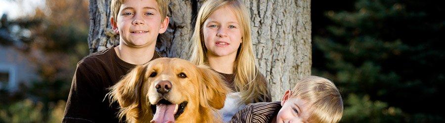 Kinder mit ihrem Hund vor einem Baum